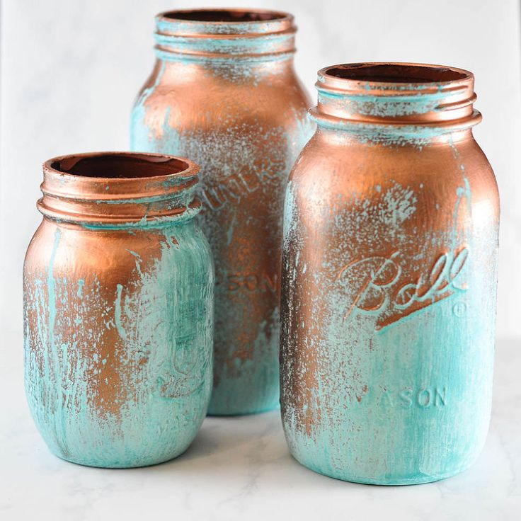 Mason Jars With A Blue Patina - Distress mason jars to look as though they're weathered and have a beautiful blue patina. Wouldn't a metal mason jar be a fabulo…