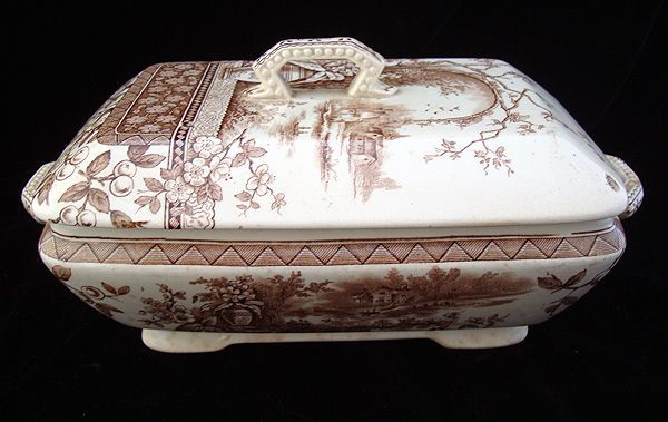 BROWN TRANSFERWARE COVERED TUREEN RUSTIC PATTERN Burgess and Leigh ~ Hill Pottery  Staffordshire England c. 1886