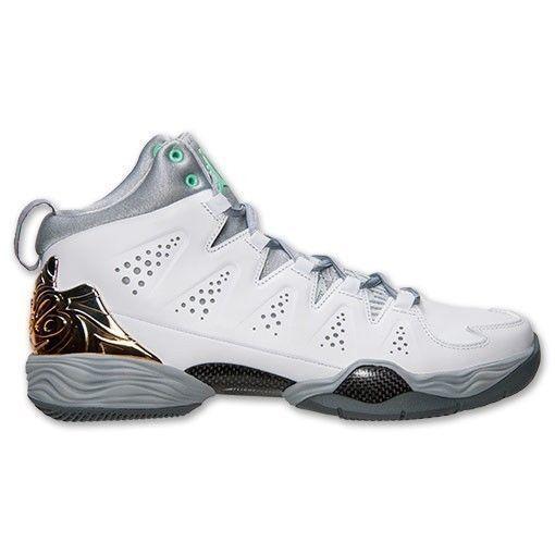 (629876-105) Men's Air Jordan Melo M10 White/Green Glow/Wolf Grey #Jordan #AthleticSneakers