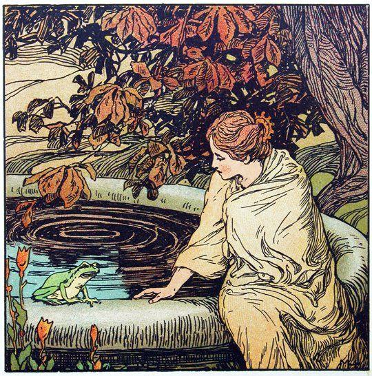 """Der Froschkönig (The Frog Prince)"" illustration by Maria Hohneck, from ""Goldenes Märchenbuch"" (1905)"