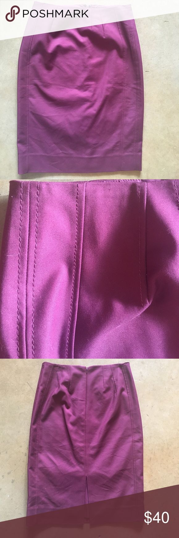 Purple Pencil Skirt WHBM Purple Pencil Skirt from White House Black Market. Such a pretty color! Beautiful stitching detailing. Soft matching liner. Like new! Size 2 White House Black Market Skirts Pencil