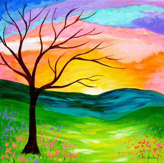 Hope Tree Painting Landscape Painting Sunset Sunrise Art Colorful Inspirational Art Sky Cloud Painting Spring Painting Spiritual Painting Tree Painting Sunrise Art Spiritual Paintings