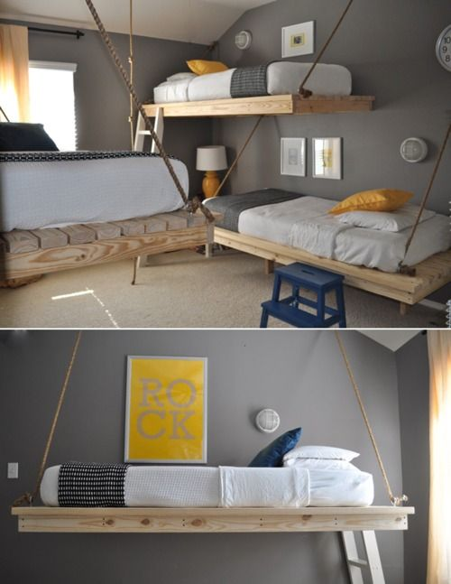 'bunk' beds something like this? But these would be permanent, so if we wanted more mobile/temporary we could just do traditional.