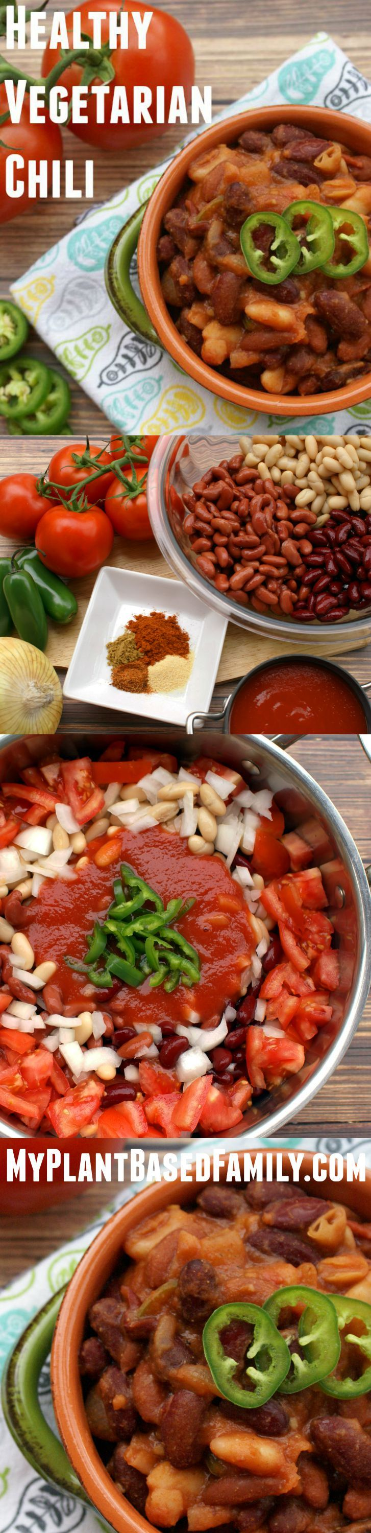 Heart-Healthy Vegetarian Chili (Texas style chili) is great for fall or winter. Cook it stove top or in the Crock Pot. This meatless (vegan) chili is perfect comfort food. Also gluten-free!