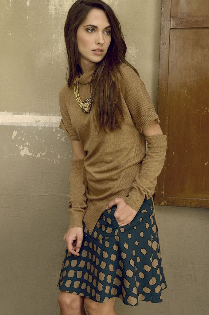 Sarah Lawrence - asymmetrical collar neck sweater, A line printed skirt.