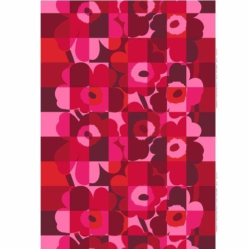 Marimekko Ruutu-Unikko Red/Pink PVC-Coated Cotton Fabric