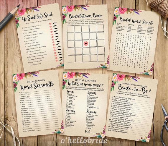 Bohemian Bridal Shower Games Package  Printable by ohellobride