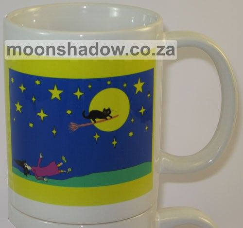 "Coffee #Mug with ""Falling Witch"" design (unique from Moonshadow's studio)"