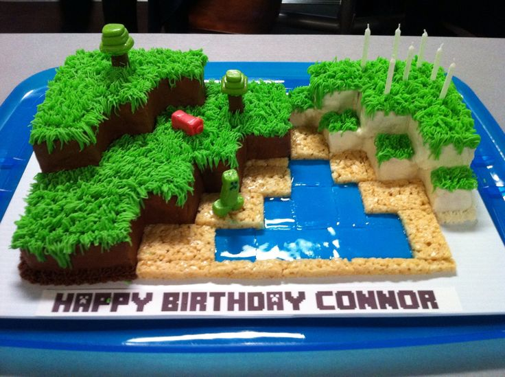 Connor's 7th Birthday. Minecraft Cake....part chocolate, part vanilla...everyone's favorite flavors...figures are made from starburst and colored tootsie roll candies.