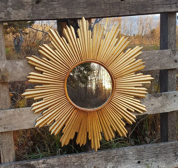 Shabby Chic Starburst Mirror Vintage looking Sunburst  Mid-Century Sputnik Mirror Mid Century French Country Cottage Wall Mirror