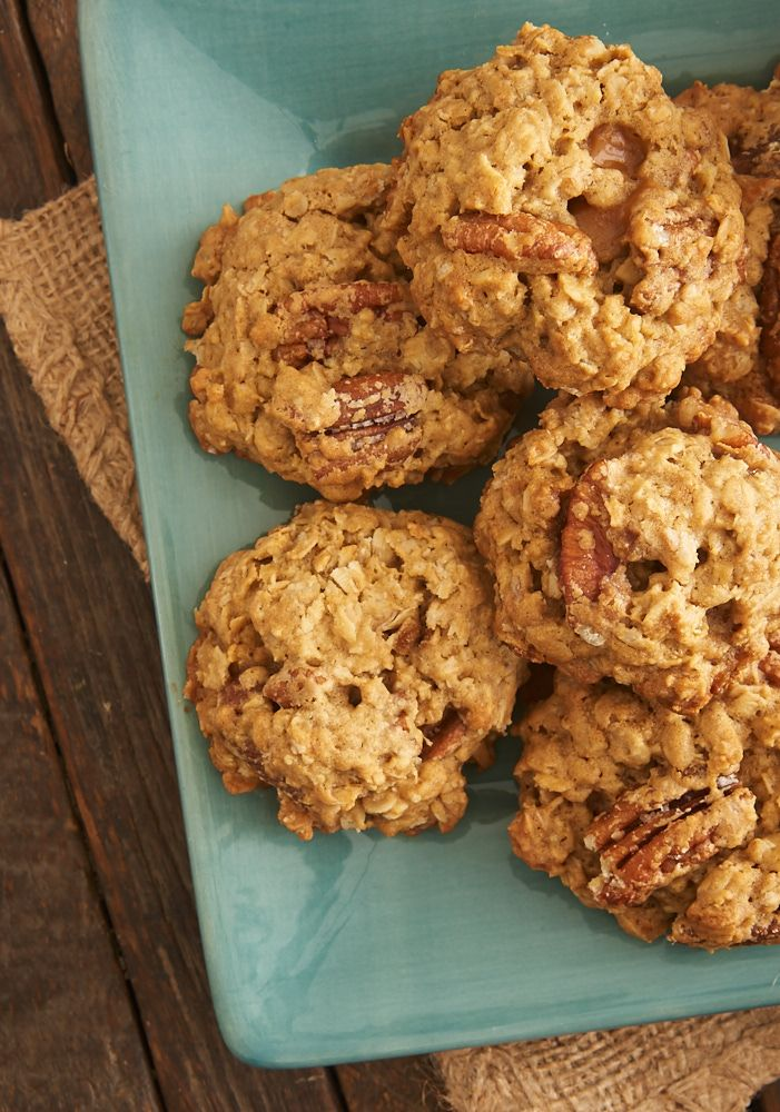 These big, chewy, hearty oatmeal cookies are filled with sweet, buttery, toasted pecans and little bites of caramel.