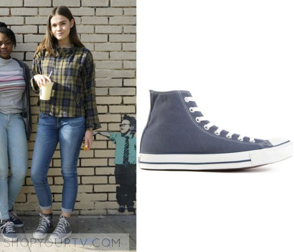 """The Fosters 4x20 - Callie Jacob (Maia Mitchell) wears these light blue/grey lace up high rise sneakers in this episode of The Fosters, """"Until Tomorrow"""". They are the Converse All Star Blue Canvas High Tops."""
