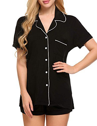 Ekouaer Women's Short Sleeve Sleepwear Lounge Wear Pajama Set with Pj Shorts Super soft material:95% Lenzing Viscose+5% Spandex.Easy fit and lightweight. Two-piece pajama set featuring Short sleeve top and patterned short Top: button-down with notch collar ,chest pocket with Ekouaer logo...
