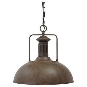 Warm up your space with a cool look—a hanging metal pendant modeled after old-industrial warehouse lighting. Its distressed finish is richly rustic with a charming vintage element. Signature Design by Ashley is a registered trademark of Ashley Furniture Industries, Inc.