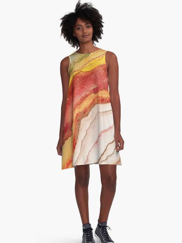 AGATE Inspired Watercolor Abstract 03 Dress by Vivigonzalezart