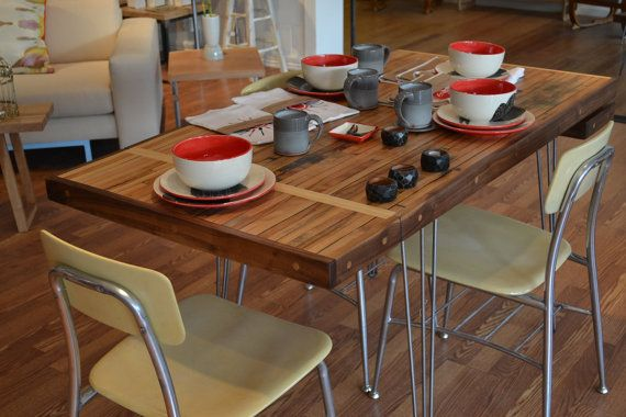 Reclaimed Extension Table - Dining In Style With This Industrial Salvaged Maple On Hairpin Legs on Etsy, $1,431.03 CAD