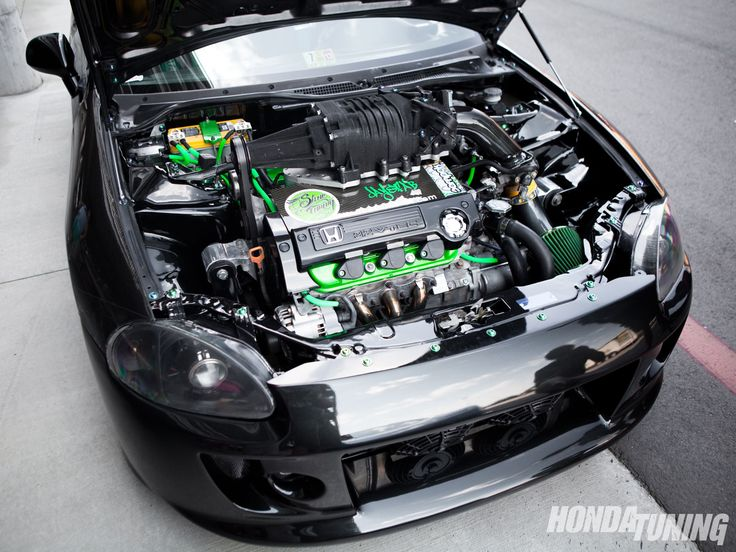 2001 Honda Del Sol Custom Engine Bay #Honda #Import #FastFurious