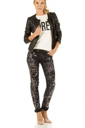 Skinny jeans Savannah | zwart/roze Nikkie