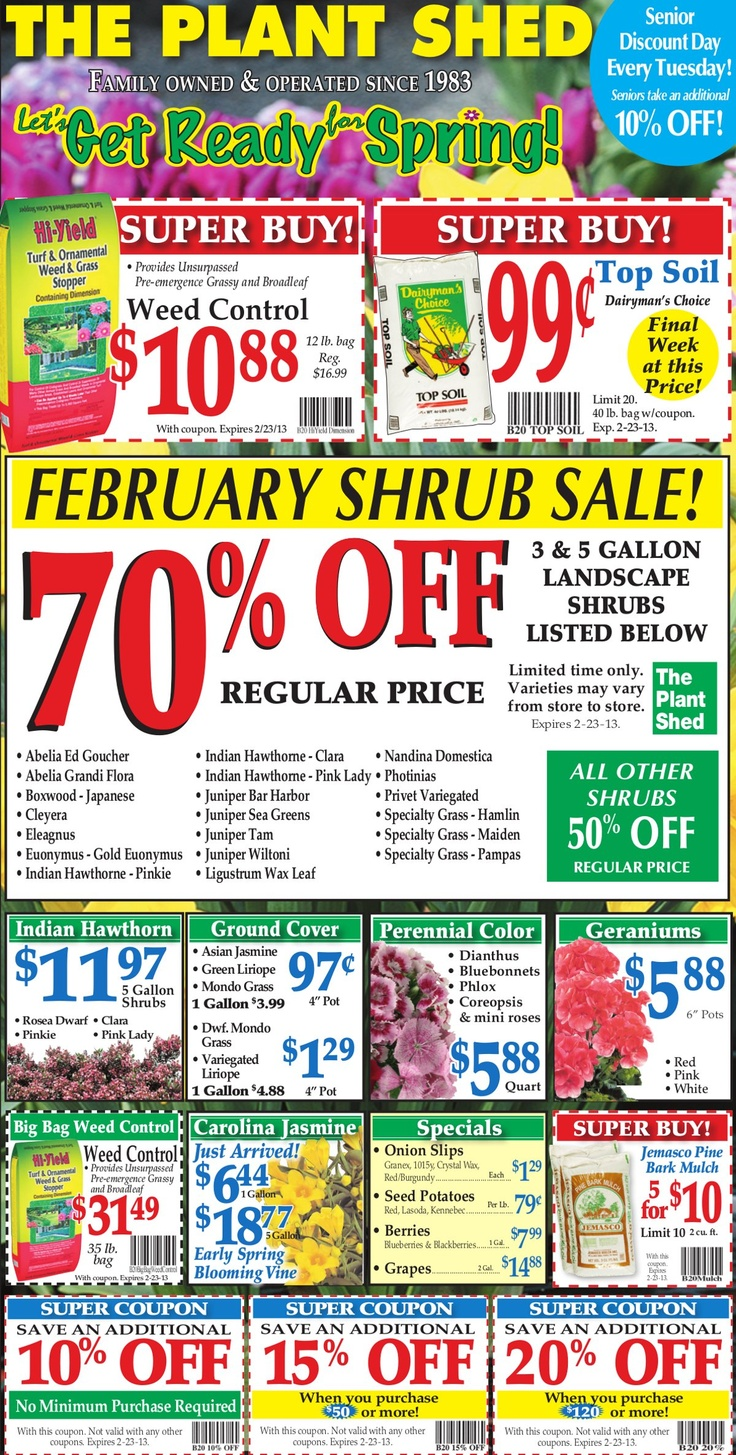 Weekly Ad 2 17 Welcome To The Plant Shed Plant Shed