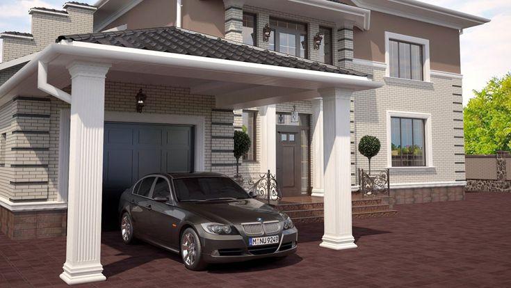 Дизайн проект фасада современного дома в стиле классика | http://edesign.net.ua/design-proekt-fasada-sovremennogo-doma.html