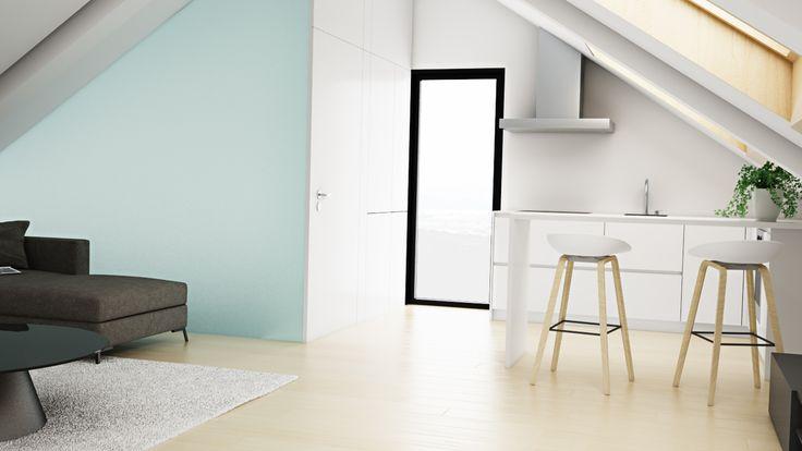 Ático Cangas / equipoeme estudio #urban #design #interiorismo #equipoeme #bajocubierta #renders #cocina #diseño #salon