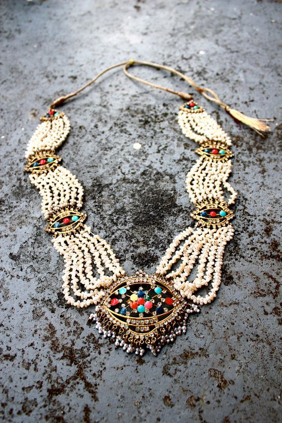 Vintage Ethnic Tribal Statement Necklace / Pearls Jewels Brass Indonesian Batik Thai Indian India