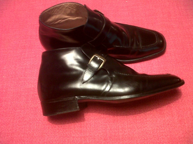70s Black Buckle Leather Ankle Boots. Olympic Torino