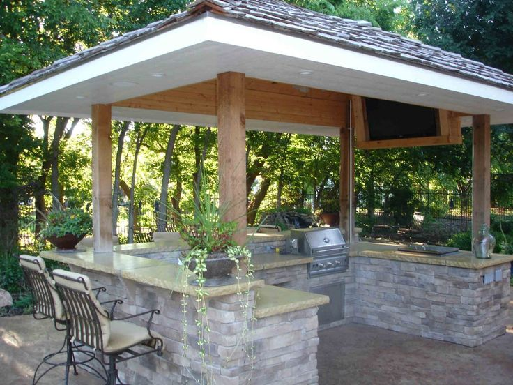 34 best outdoor covered kitchens images on pinterest for Outdoor kitchen pergola ideas