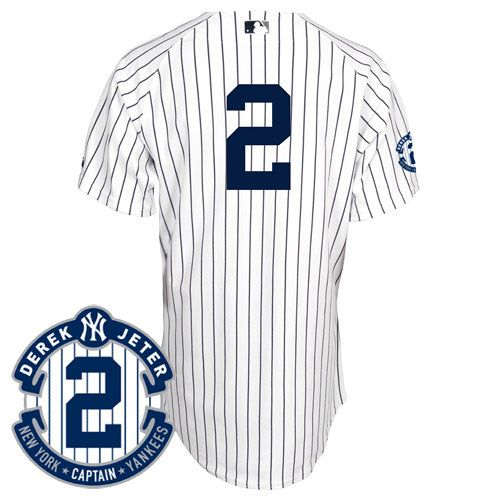 Men's MLB New York Yankees #2 Jeter White Jersey