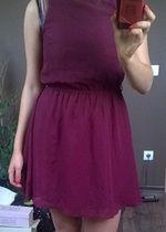 Bordowa sukienka Atmosphere skórzane wstawki