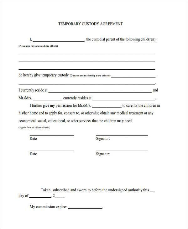 Temporary Guardianship Agreement Form Custody Agreement