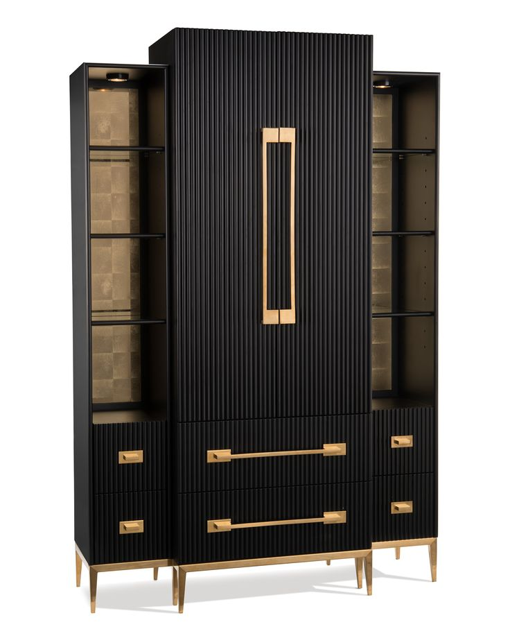 The Black Satin Cabinet will debut at High Point Market this April. Black and Gold make a powerful style statement!