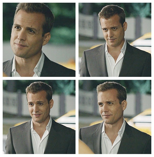 oh my my. Gabriel Macht looks even better in a casual 2-piece suit without a tie.