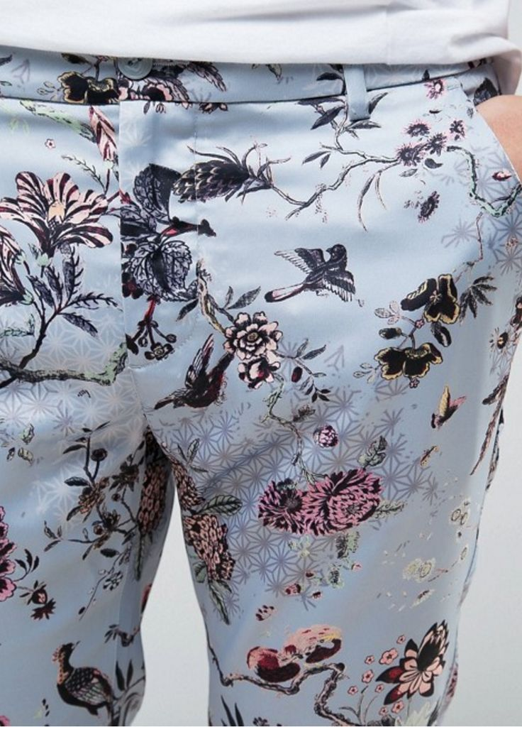 Super Skinny Floral Trousers In Sateen Fabric from ASOS (men, style, fashion, clothing, shopping, recommendations, stylish, menswear, male, streetstyle, inspo, outfit, fall, winter, spring, summer, personal)