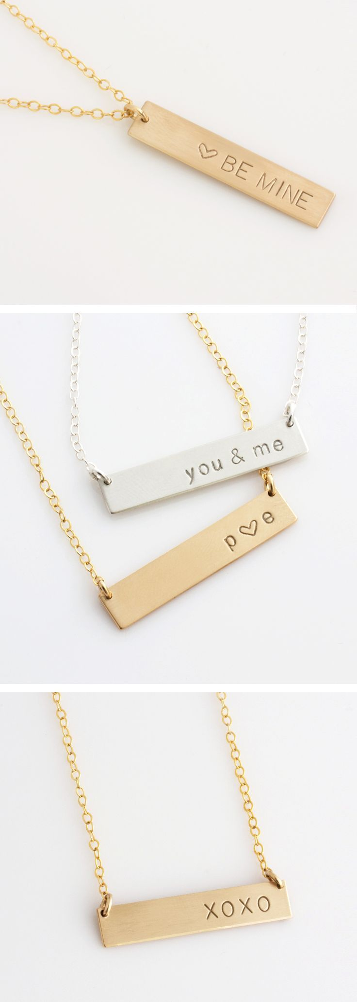 Personalized Bar Necklace, Personalized Nameplate Necklace, Gold Bar Necklace for Her, Gift for Her, Gold Bar, Silver Bar,LEILA Bar Necklace