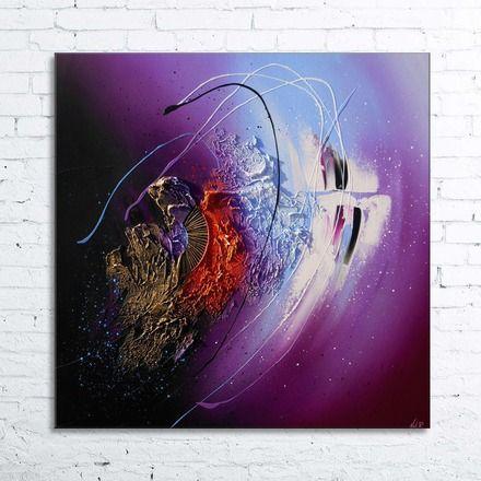 Clava tableau abstrait moderne contemporain l 39 acrylique peinture en relief sur toile - Tableau peinture acrylique moderne ...
