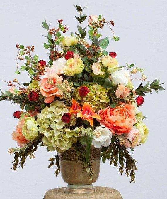 Xl Silk Floral Arrangement Luxury Arrangement Table Etsy Large Flower Arrangements Church Flower Arrangements Flower Arrangements