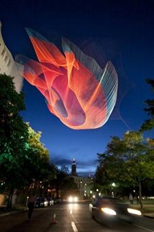 Janet Echelman (who was rejected from 7 art schools) sculpture in Denver #Echelman