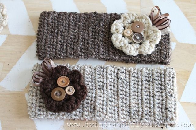 Crochet Headbands with removable crochet flowers
