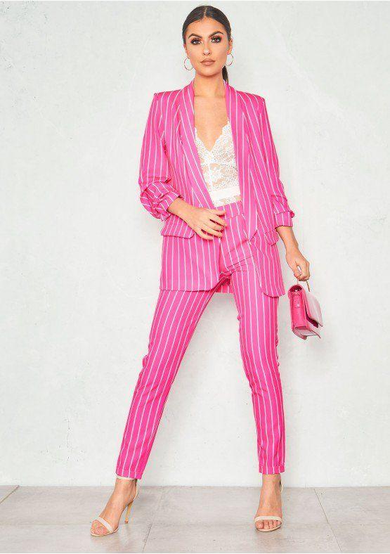 9216b059d27 Anika Hot Pink Pinstripe Cigarette Trousers Missy Empire