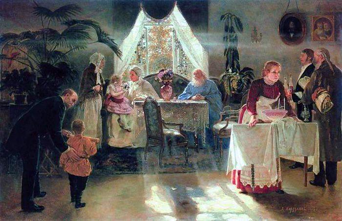 """А. И. Корзухин - """"Бабушкин праздник"""" (1893 год)"""