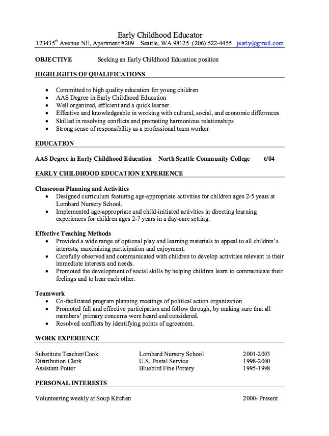 Ece Educator Resume Click Here To Download This Early Childhood