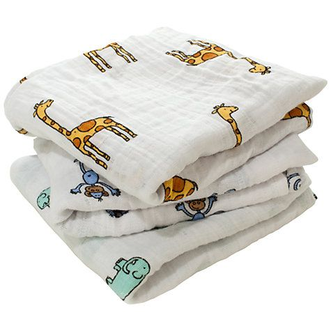 Buy Aden & Anais Muslin Cloths, Pack of 3, Jungle Jam Online at johnlewis.com