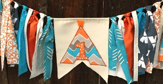 Tribal invitation, tribal first birthday party, tribal party, teepee banner…