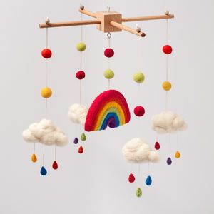 Needle Felt Rainbow And Clouds Cot Mobile - mobiles