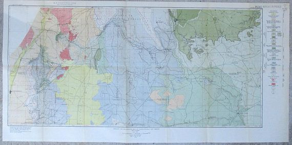 1929 New Mexico North-Central Geological Map Albuquerque to