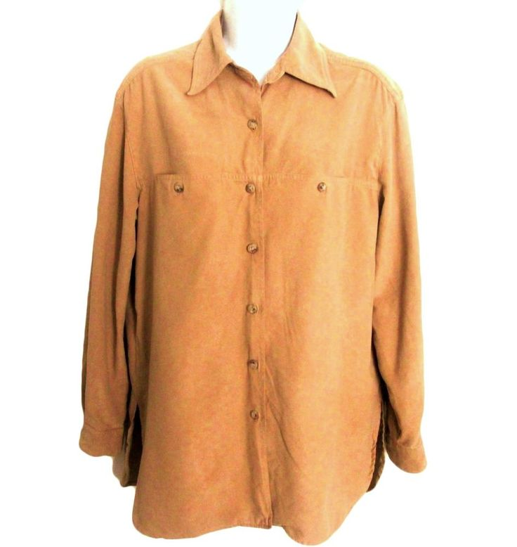 Lizsport Liz Claiborne S Sueded fabric Women's Beige Shirt Top Blouse..........5 #LizSport #Blouse #Career