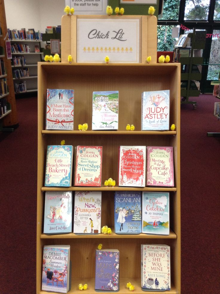 Chick Lit book display. How many chicks will be left before we replace the display!