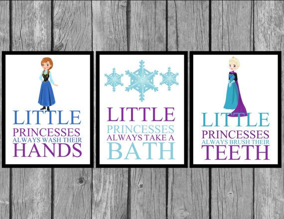 Kids wall art wall prints princess bathroom prints Disney bathroom ideas