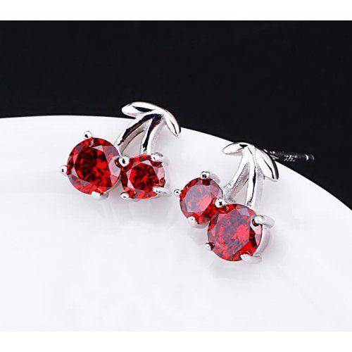 Kiváló minőségű cseresznye fülbevaló 925 ezüst